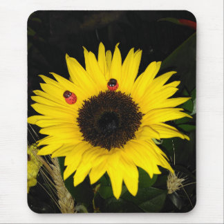 Yellow Sunflower And Two Ladybugs Mouse Mat