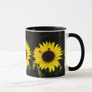 Yellow Sunflower And Two Ladybugs Mug