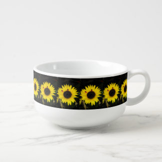 Yellow Sunflower And Two Ladybugs Soup Mug