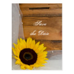 Yellow Sunflower and Veil Wedding Save the Date