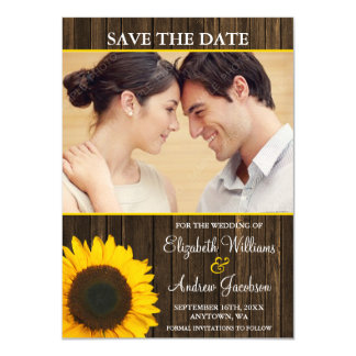 Yellow Sunflower Barn Wood Photo Save the Date 11 Cm X 16 Cm Invitation Card