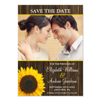 Yellow Sunflower Barn Wood Photo Save the Date 13 Cm X 18 Cm Invitation Card