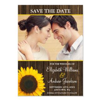 Yellow Sunflower Barn Wood Photo Save the Date Card