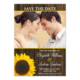 Yellow Sunflower Barn Wood Photo Save the Date Magnetic Invitations