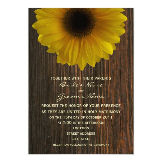 Yellow Sunflower & Barnwood Fall Wedding Card