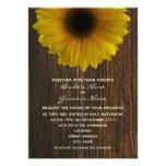 Yellow Sunflower & Barnwood Fall Wedding Personalised Invitations