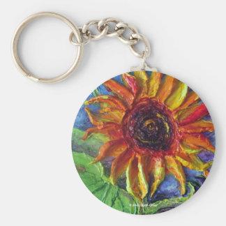 Yellow Sunflower Basic Round Button Key Ring
