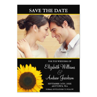 Yellow Sunflower Black Photo Save the Date Card