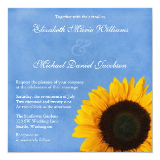 Yellow Sunflower Blue Sky Wedding 13 Cm X 13 Cm Square Invitation Card