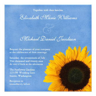 Yellow Sunflower Blue Sky Wedding Personalized Announcements