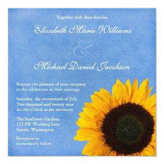 Yellow Sunflower Blue Sky Wedding 13 Cm X 13 Cm Square Invitation Card