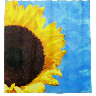 Yellow Sunflower Blue Watercolor Sky Shower Curtain