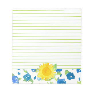 Yellow Sunflower Blue Wildflowers Watercolor Lined Notepad