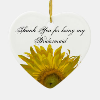 Yellow Sunflower Bridesmaid Thank You Ceramic Heart Decoration