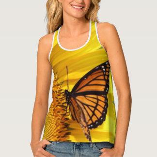 Yellow Sunflower Butterfly Tank Top