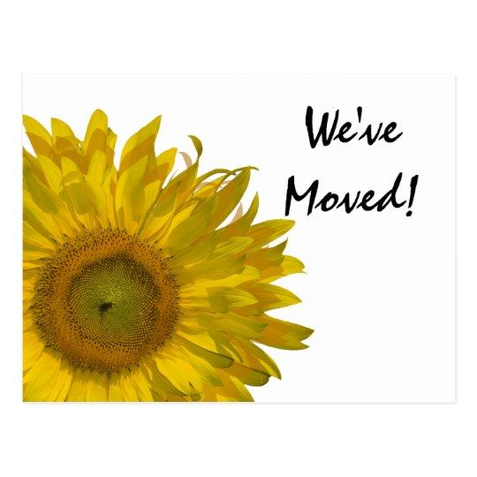 Yellow Sunflower Change of Address Announcement Postcard