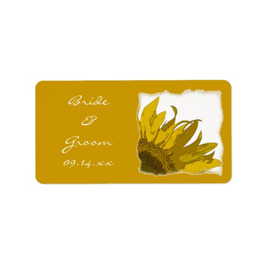Yellow Sunflower Corner Wedding Address Label