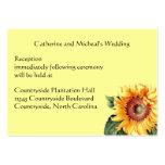 Yellow Sunflower Country Wedding Reception Insert Business Card Template