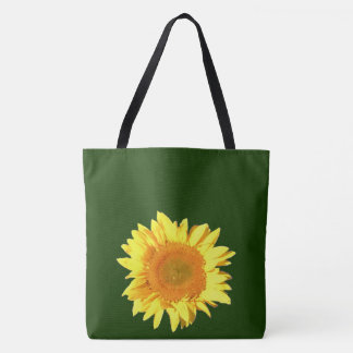 Yellow Sunflower Dark Hunter Green Tote Bag