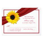Yellow Sunflower Deep Red Ribbon Wedding RSVP