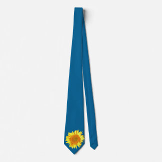 Yellow Sunflower Displayed on Sky Blue Tie