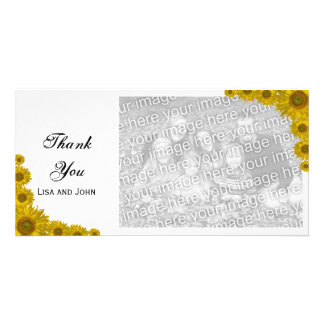 Yellow Sunflower Edge Thank You Photo Card