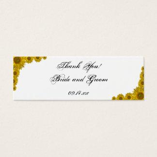 Yellow Sunflower Edge Wedding Favor Tags Mini Business Card