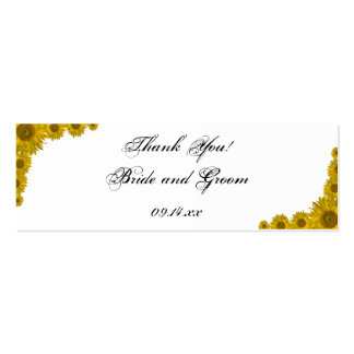 Yellow Sunflower Edge Wedding Favor Tags Pack Of Skinny Business Cards
