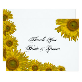 Yellow Sunflower Edge Wedding Flat Thank You Notes Card