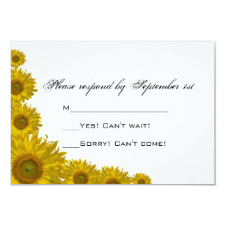 Yellow Sunflower Edge Wedding Response Card Personalized Invite