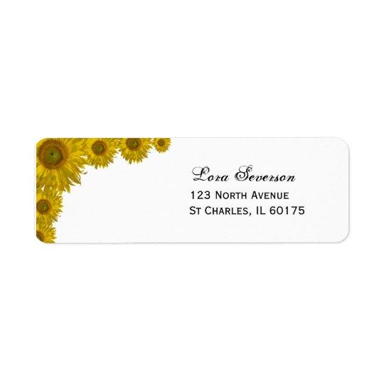 Yellow Sunflower Edge Wedding Return Address Label