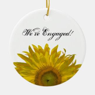 Yellow Sunflower Engagement Christmas Ornament