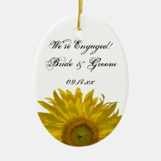 Yellow Sunflower Engagement Photo Christmas Ornament