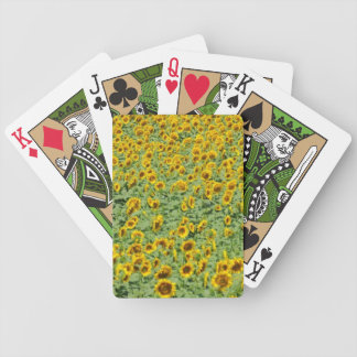 Yellow Sunflower Field Bicycle Playing Cards