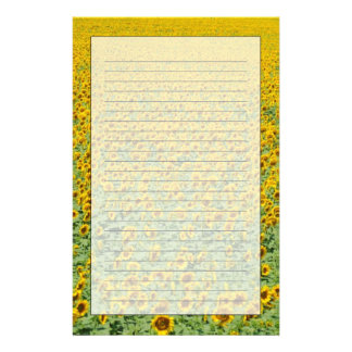 Yellow Sunflower Field Personalized Stationery