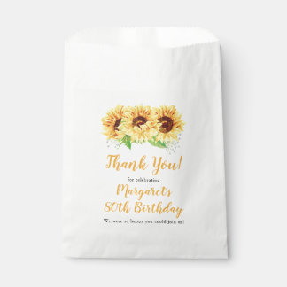 Yellow Sunflower Floral 80th Birthday Thank You Favour Bags