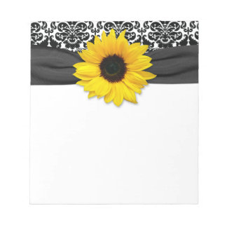 Yellow Sunflower Flower Black White Damask Floral Notepad