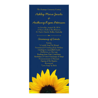 Yellow Sunflower Flower Navy Blue Wedding Program Rack Card