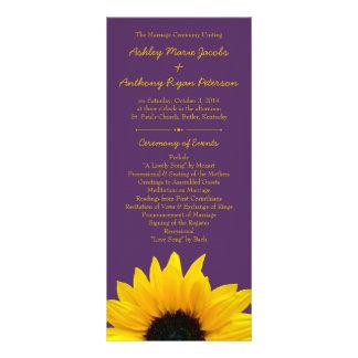 Yellow Sunflower Flower Purple Wedding Program Rack Card