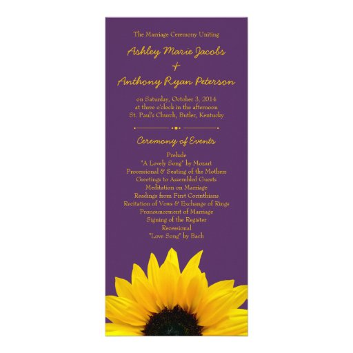 Yellow Sunflower Flower Purple Wedding Program Custom Rack Card