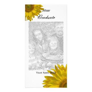 Yellow Sunflower Graduation Announcement Photo Card