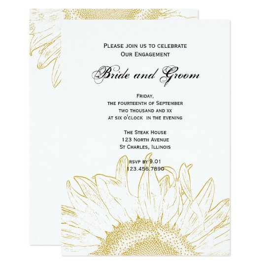 Yellow Sunflower Graphic Engagement Party Invite