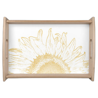 Yellow Sunflower Graphic Serving Tray