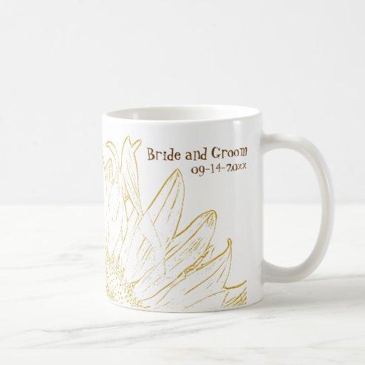 Yellow Sunflower Graphic Wedding Basic White Mug
