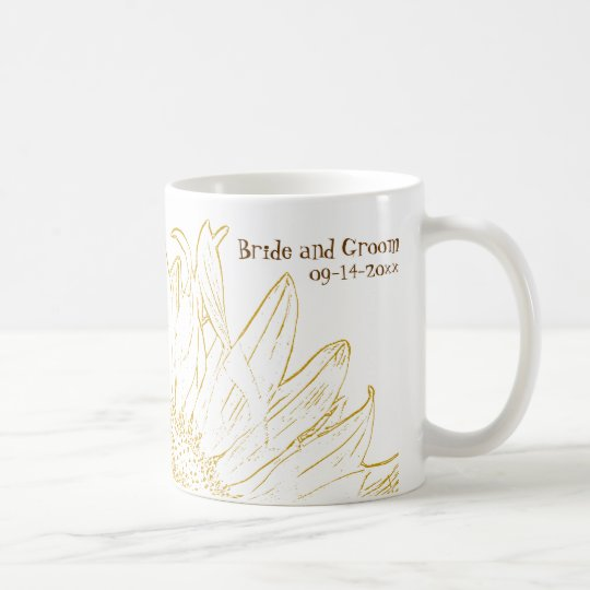 Yellow Sunflower Graphic Wedding Coffee Mug