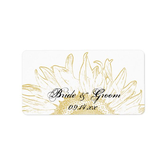 Yellow Sunflower Graphic Wedding Label