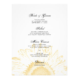 Yellow Sunflower Graphic Wedding Menu 21.5 Cm X 28 Cm Flyer