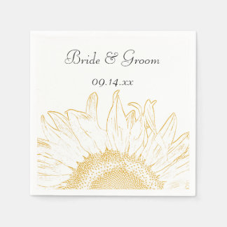 Yellow Sunflower Graphic Wedding Paper Napkin