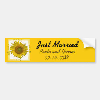 Yellow Sunflower Just Married Bumper Sticker