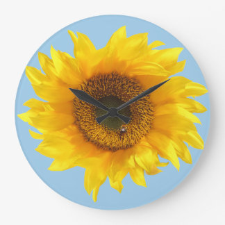 yellow sunflower large clock